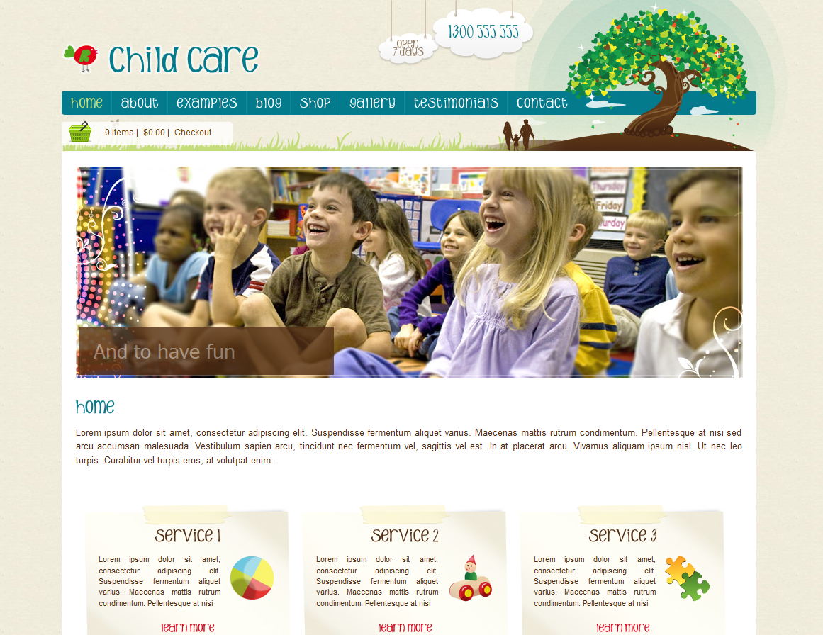 Childcare Website Template - Option #1