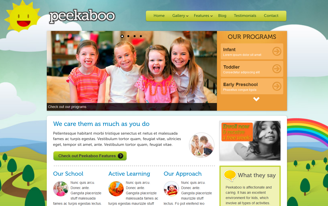 Childcare Website Template - Option #2